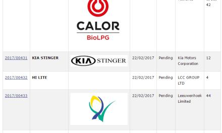 Recent Irish Trademark Applications KiaStinger MyBuddy CalorBioLPG
