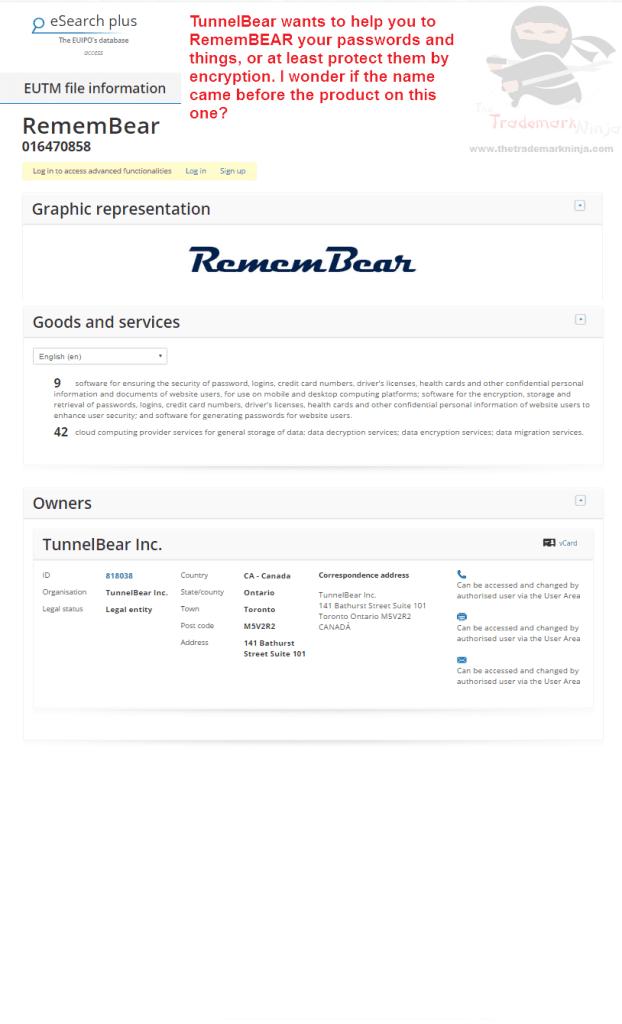 The <a href=http://twitter.com/TunnelBear target=_blank rel=nofollow data-recalc-dims=1>@TunnelBear</a> folks have applied for an EU trademark registration for Remembear Puntastic