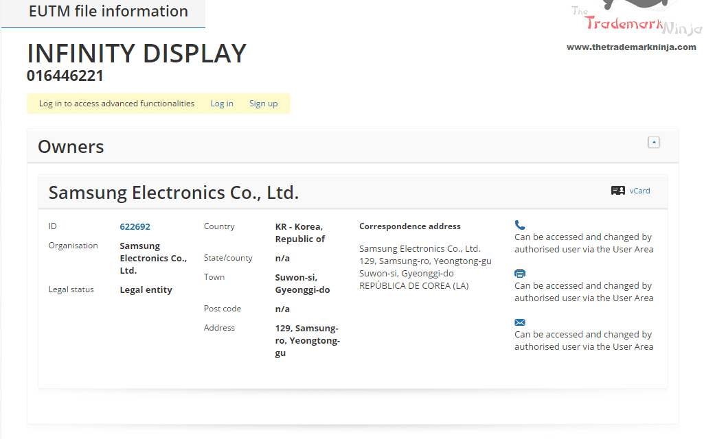 The InfinityDisplay trademark application filed by @SamsungUK in the EU