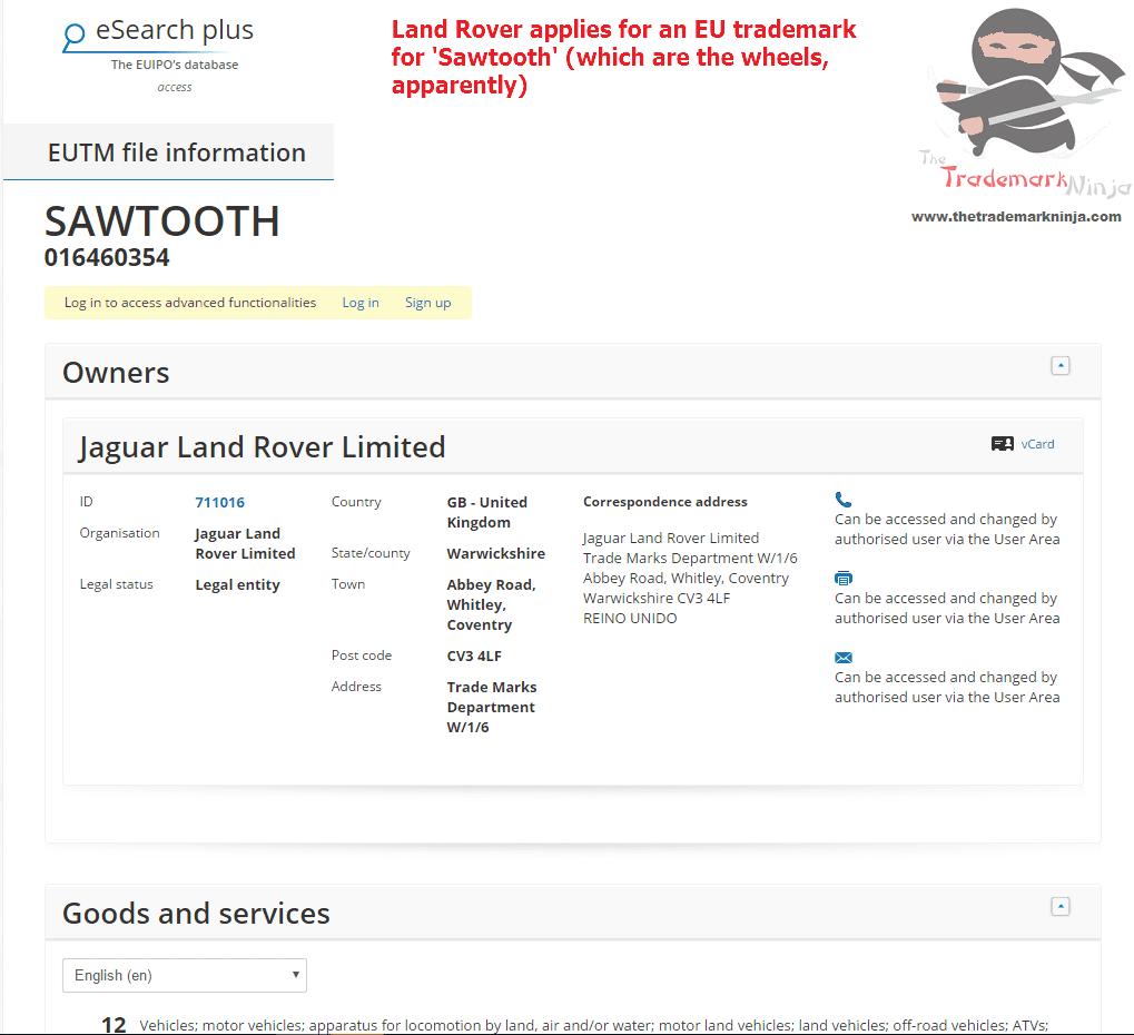 The boys <a href=http://twitter.com/jaguar target=_blank rel=nofollow data-recalc-dims=1>@jaguar</a> <a href=http://twitter.com/landrover target=_blank rel=nofollow>@landrover</a> have applied for an EU trademark for Sawtooth Landy Landrover