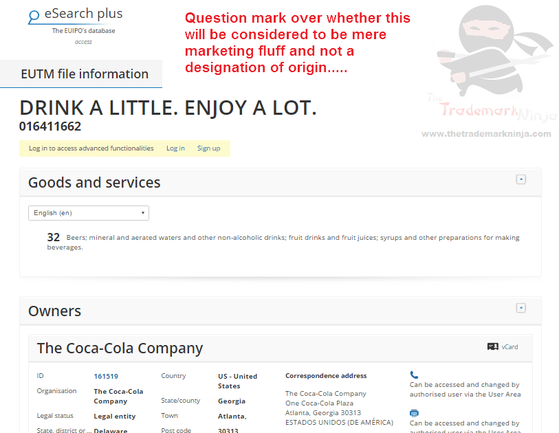 Trademark EU <a href=http://twitter.com/CocaCola target=_blank rel=nofollow data-recalc-dims=1>@CocaCola</a> applies for DrinkALittleEnjoyALot as a trademark CocaCola Coke DrinkALittle