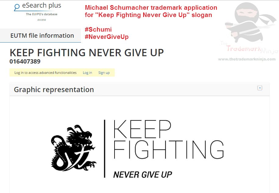 Trademark application in EU by @MichaelSchumacher for KeepFighting NeverGiveUP