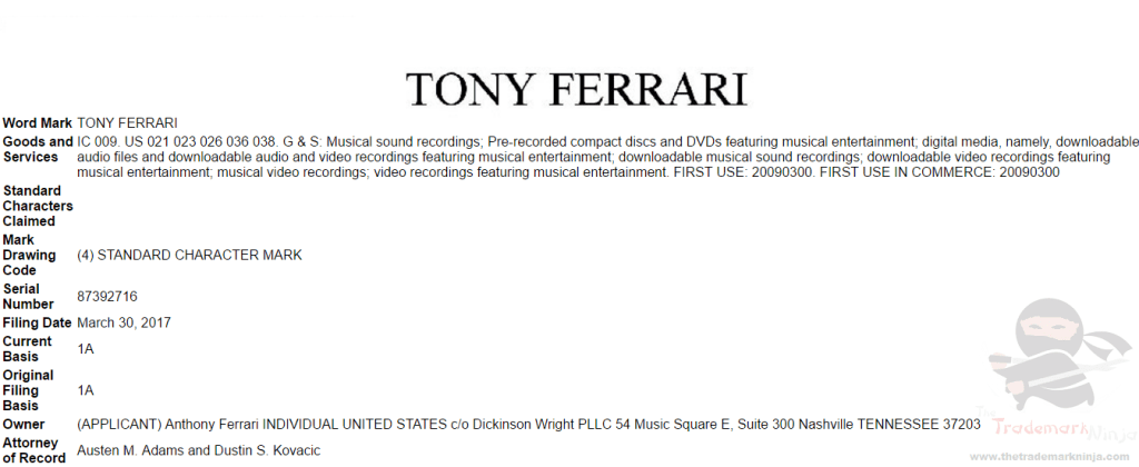 US musician TonyFerrari applies for US Trademark for his name <a href=