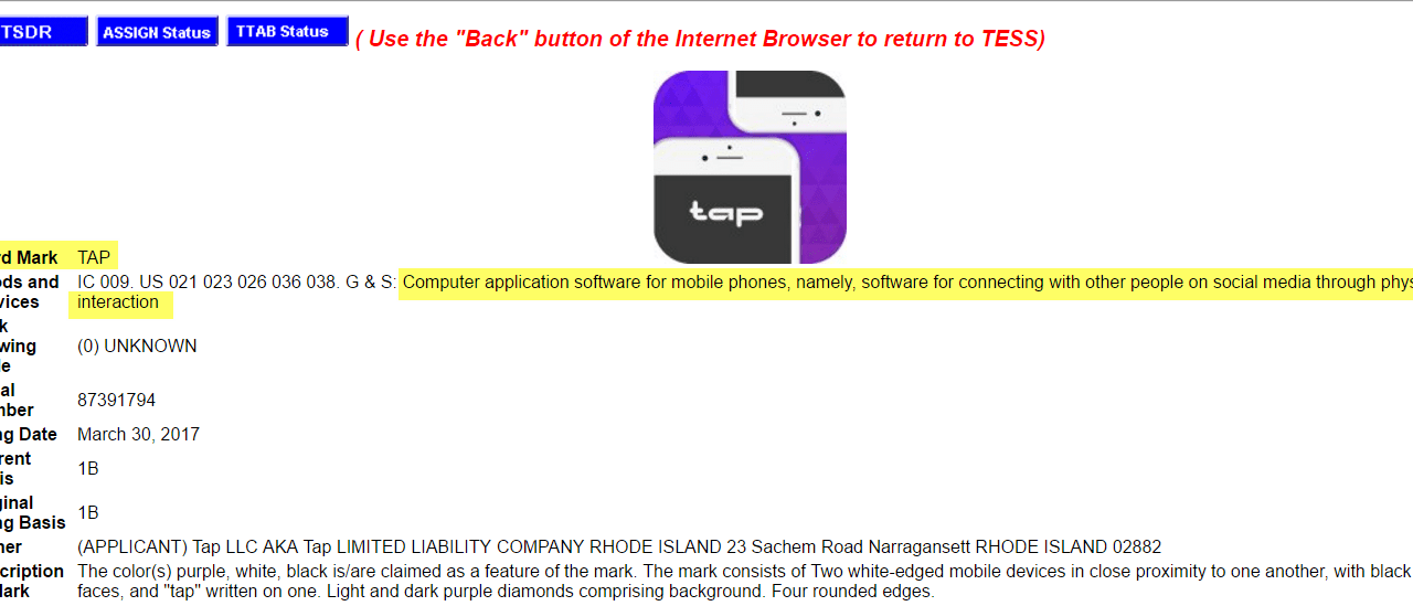 US trademark application for TapApp Tap Social Media combined with physical interaction