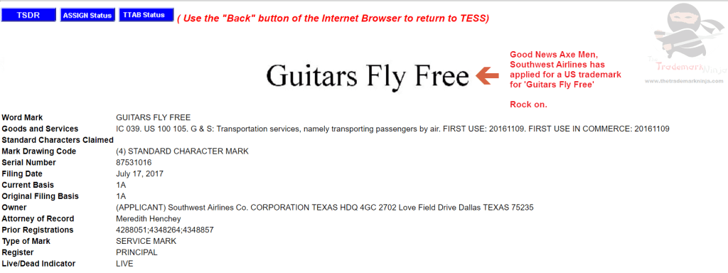 Guitars Fly Free according to this trademark filed by <a href=