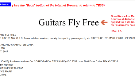 Guitars Fly Free according to this trademark filed by @southwest SouthwestAirlines Guitars Trademarks