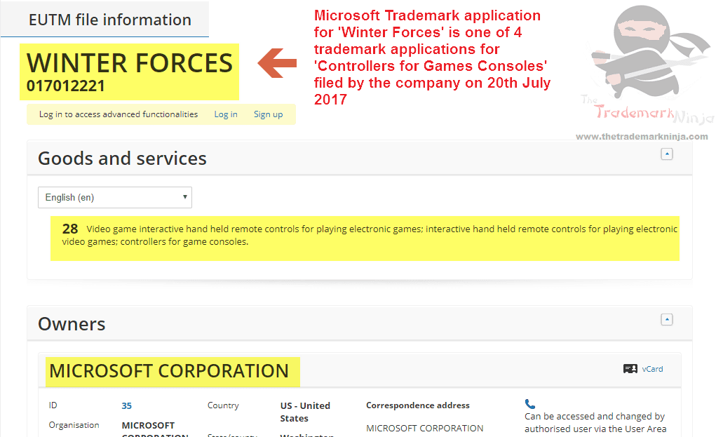 Microsoft Winter Forces Trademark Application #Winterforces #TrademarkApplication