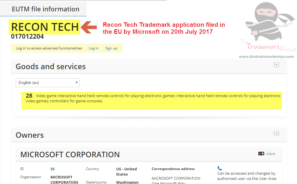 Recon Tech Trademark Application Filed By Microsoft
