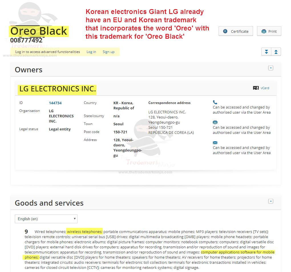 Oreo Black Trademark Application - LG Trademark For Oreo Black