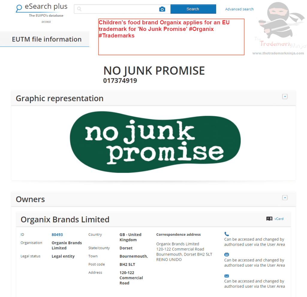 Childrens food brand Organix applies for an EU trademark for No Junk Promise Organix Trademarks