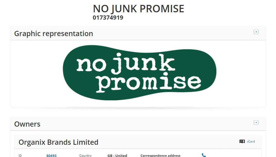Childrens food brand Organix applies for an EU trademark for No Junk Promise #Organix #Trademarks