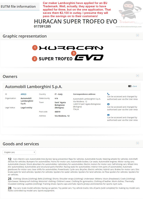 EUTM Bahahahaha.....the Irony! #EUTM #Trademark #Lamborghini #Huracan #SuperTroffeo #EVO