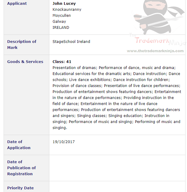 Eyes and Teeth People Eyes and Teeth Trademark Application filed for StageSchoolIreland StageSchool