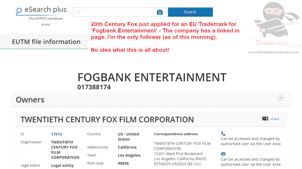 Fogbank Entertainment 20th Century Fox applies for EU Trademark Fogbank FogbankEntertainment EUTM