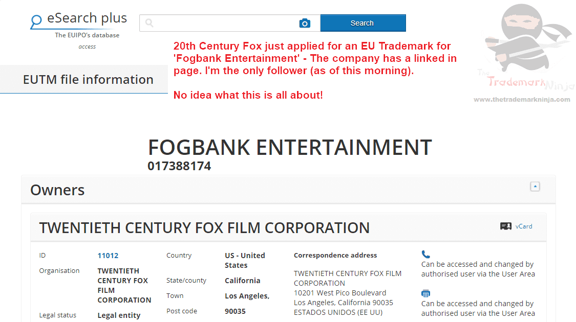 Fogbank Entertainment – 20th Century Fox applies for EU Trademark #Fogbank #FogbankEntertainment #EUTM