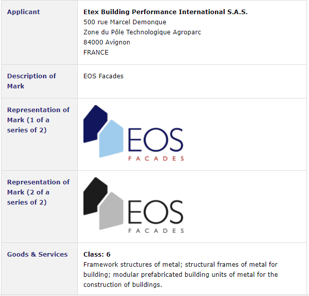French company applies for Irish Tradmark for EOSFacades EOS TrademarkIreland