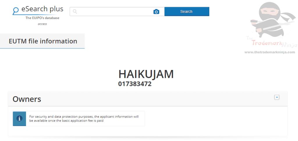 HaikuJam EU Trademark Application filed based on Indian trademark filings Haiku HaikuJam