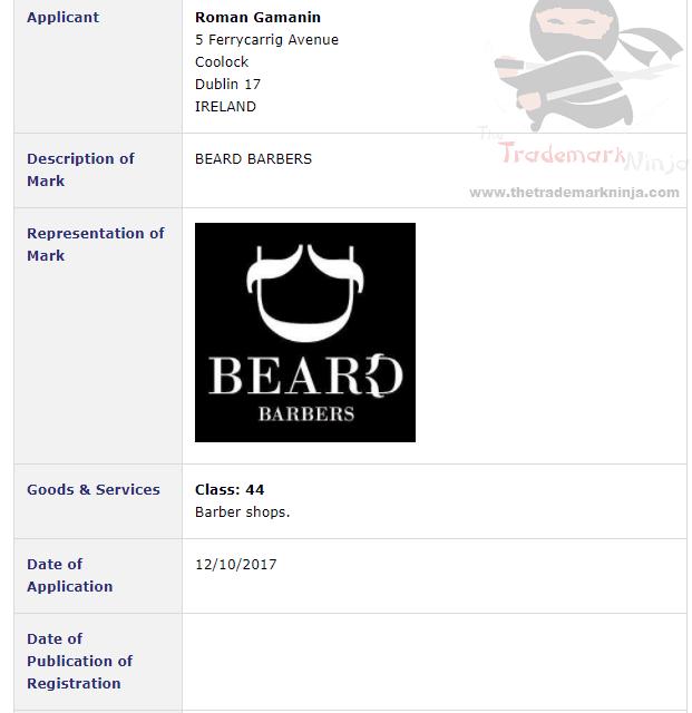 Hipster Heaven Trademark application filed for Beard Barbers in Dublin Beard BeardBarber