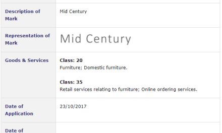 Irish Trademarks – Michael Murphy Co applies for IETM for Mid Century #Trademark #Trademarks