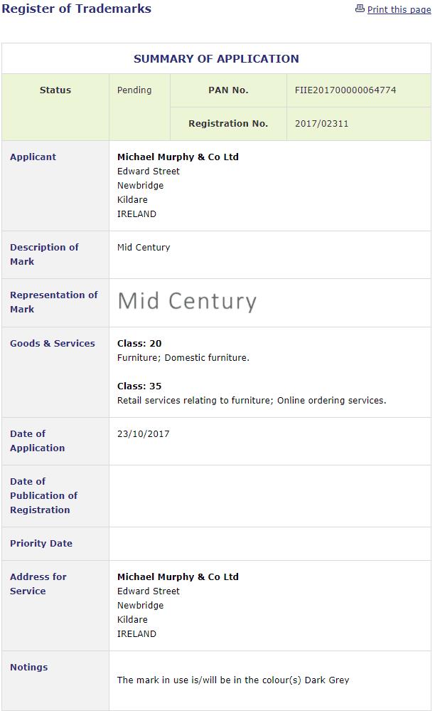 Irish Trademarks Michael Murphy Co applies for IETM for Mid Century Trademark Trademarks