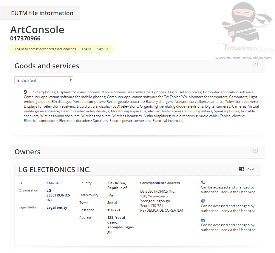 LG Electronics Applies for an EUTM for ArtConsole for phones phones displays and related tech LG ArtConsole