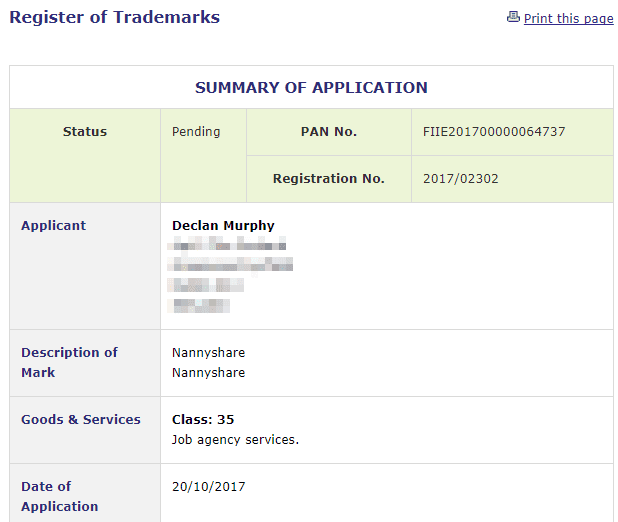 Nanny Share Trademark application filed with Irish Patents Office #NannyShare #TrademarkIreland #TM
