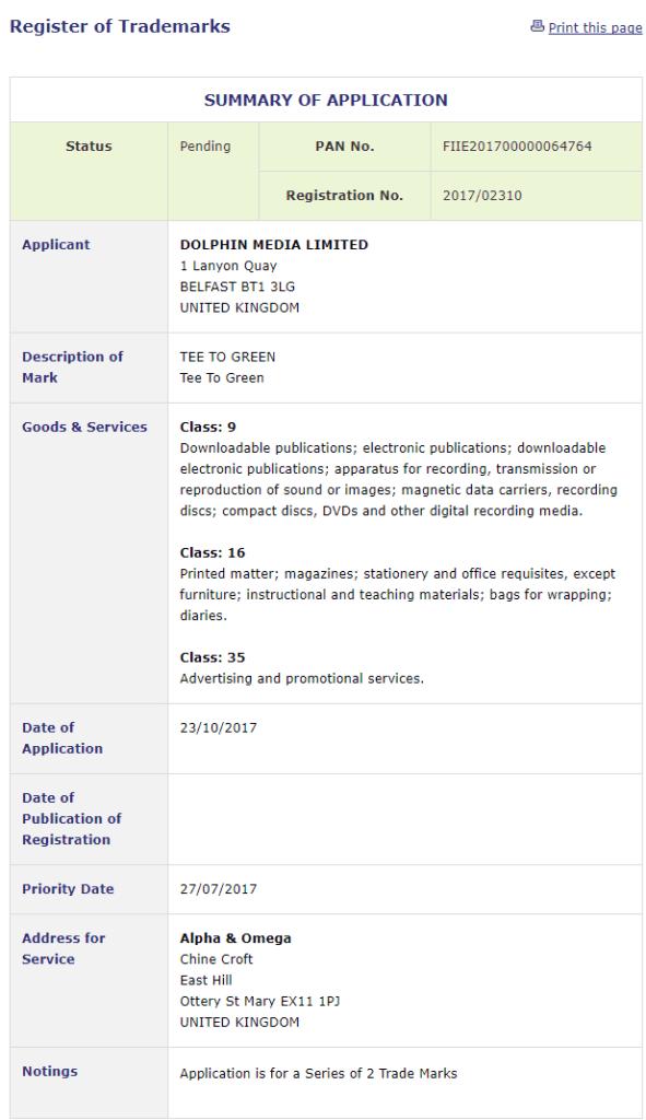 Trademark Ireland Application by Dolphin Media Limited for trademark for TeeToGreen Golf Trademark