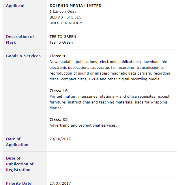 Trademark Ireland – Application by Dolphin Media Limited for trademark for #TeeToGreen #Golf #Trademark