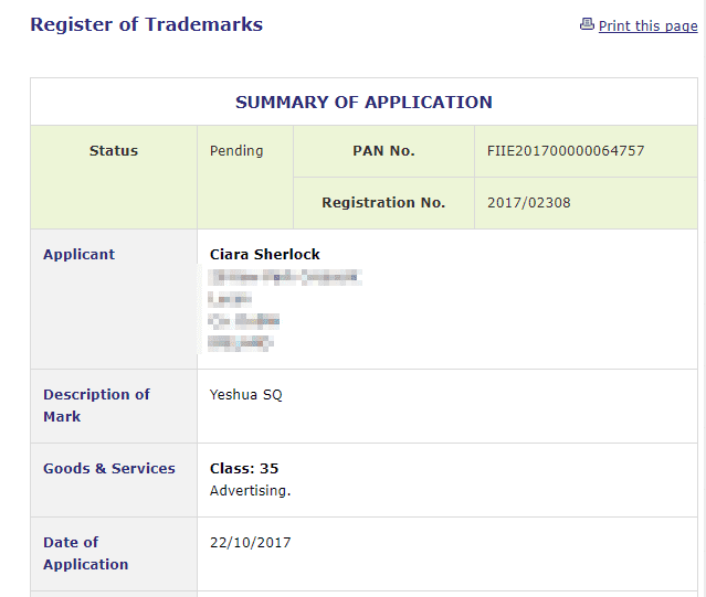 Trademark Ireland Application for YeshuaSQ filed for Advertising Trademarks IrishTrademark