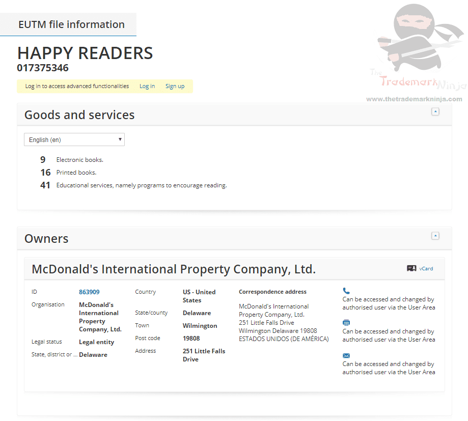 Would you like an E Book with that McDonalds applies for HappyReaders as a trademark in the EU EUTM TM Trademark