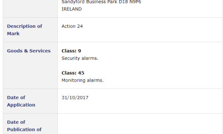 Irish Trademark – Application for Action 24 filed for security alarms and monitoring alarm services #Trademark #Action24 #Alarm