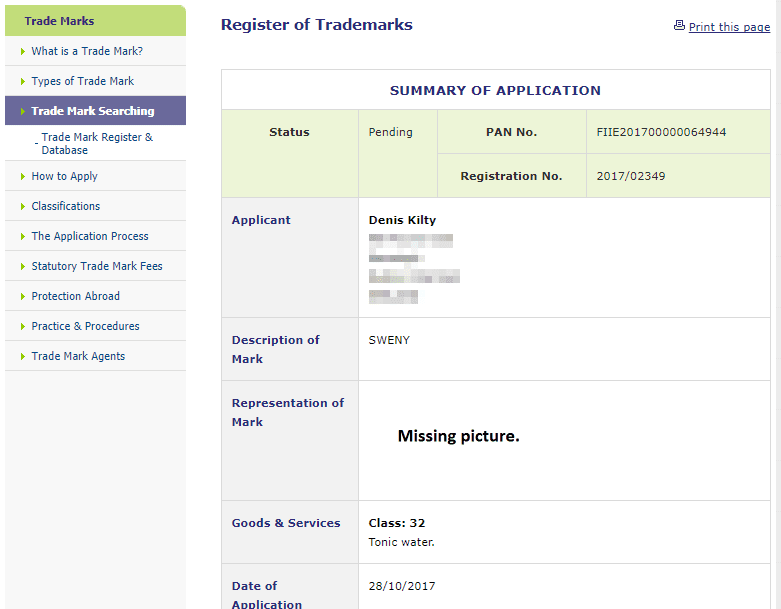 Tradeemark Ireland Application filed for Sweny for Tonic Water Sweny TonicWater Trademark 1