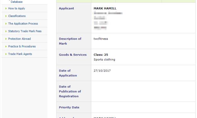 Trademark Ireland Application for Irish Trademark for TWCFitness filed by MarkHamill 1