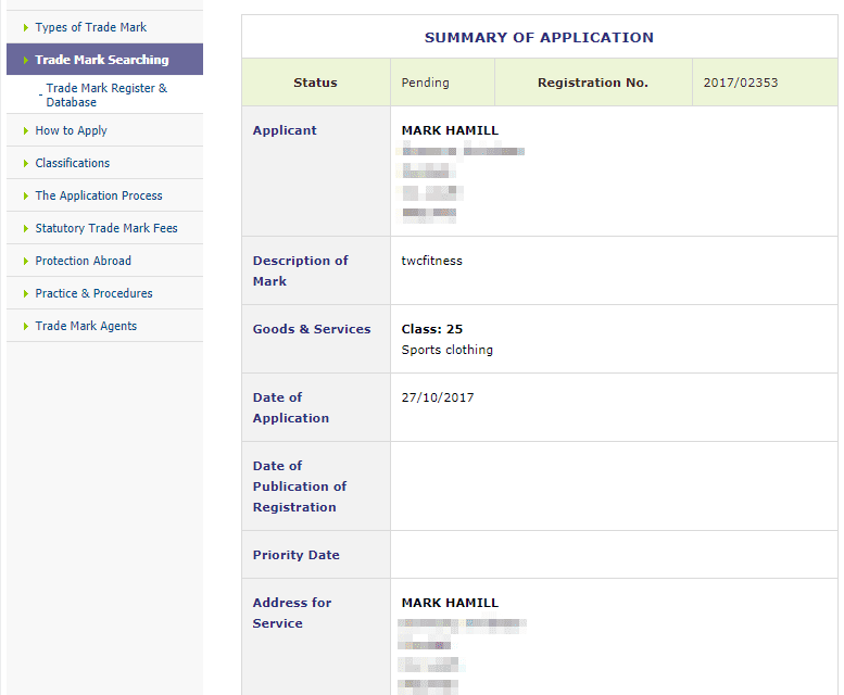 Trademark Ireland Application for Irish Trademark for TWCFitness filed by MarkHamill 1