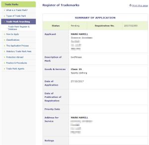 Trademark Ireland Application for Irish Trademark for #TWCFitness filed by #MarkHamill