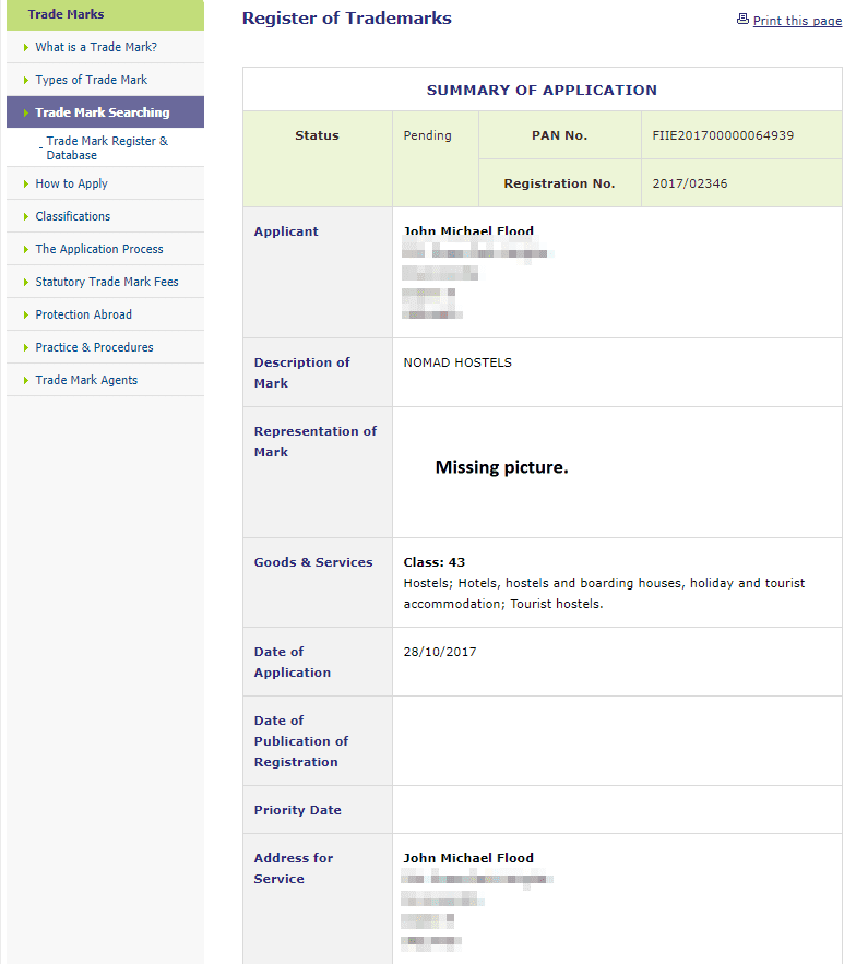 Trademark Ireland Application for Nomad Hostels filed with Irish Patents Office IPO NomadHostels Trademark 1
