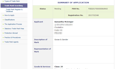 Trademark Ireland Application for trademark for Goose Gander in IPO GooseAndGander Trademark 1