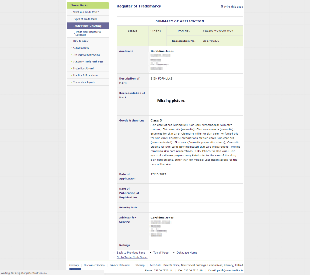 Trademark Ireland Irish trademark application for Skin Formulas filed with the Irish Patents Office Trademark SkinFormula