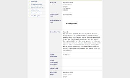 Trademark Ireland Irish trademark application for Skin Formulas filed with the Irish Patents Office Trademark SkinFormula