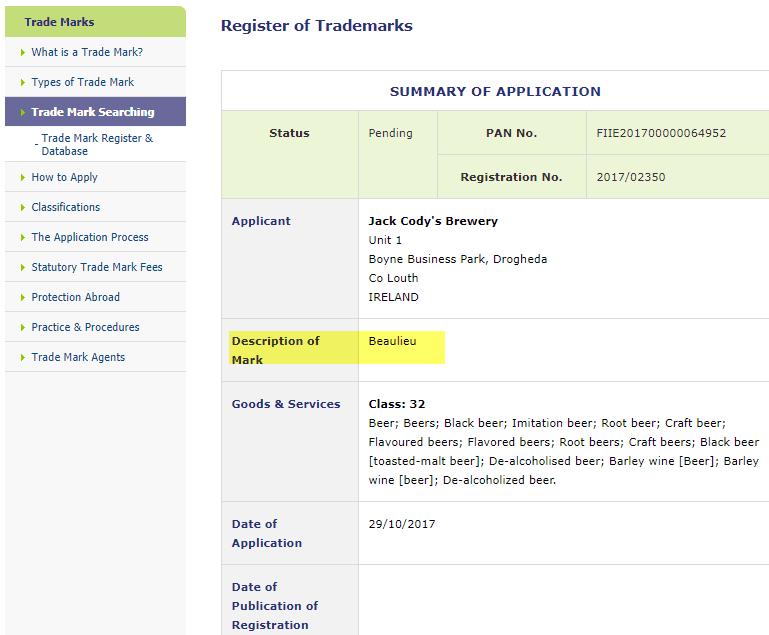 Trademark Ireland Jack Codys Brewery applies for Irish Trademark for Beaulieu JackCody Beer Trademark 1