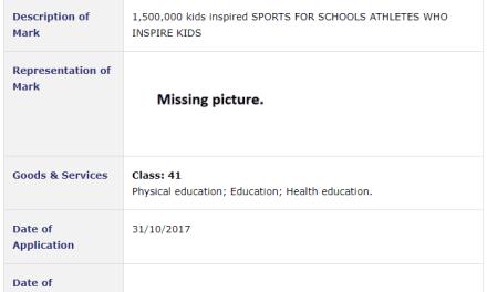 Trademark Ireland Sports for Schools Application filed for 1500000 kids inspired SportsForSchools PE Tradeamark