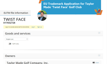 EU Trademark Application for Taylor Made Twist Face Golf Club TwistFace TaylorMade