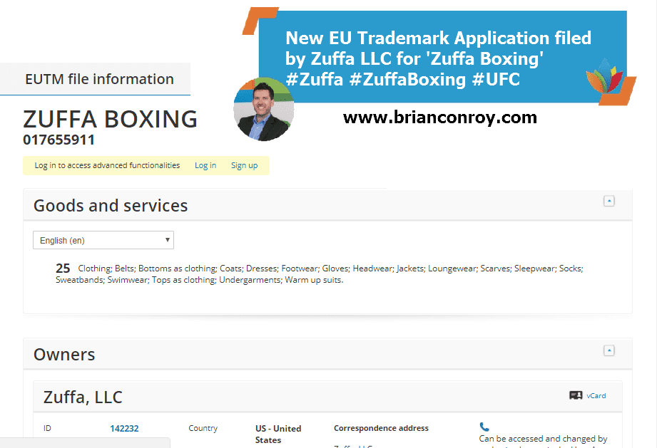 New EU Trademark Application filed by Zuffa LLC for Zuffa Boxing Zuffa ZuffaBoxing UFC