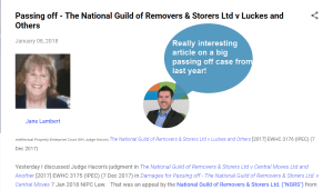 Passing Off Big Case from the National Guild of Removers is an interesting read (yes really) #IP #PassingOff