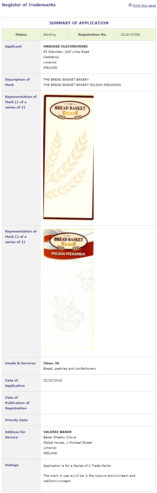 Trademark Ireland Application filed for BreadBasketBakery BreadBasket Bread Trademark TM LAw Leman