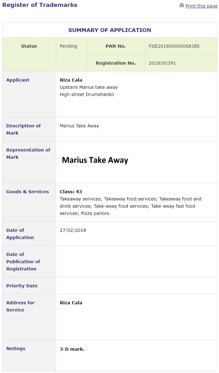 Trademark Ireland Application filed for Marius Take Away in Leitrim Marius Takeaway TM Trademark Trademarks