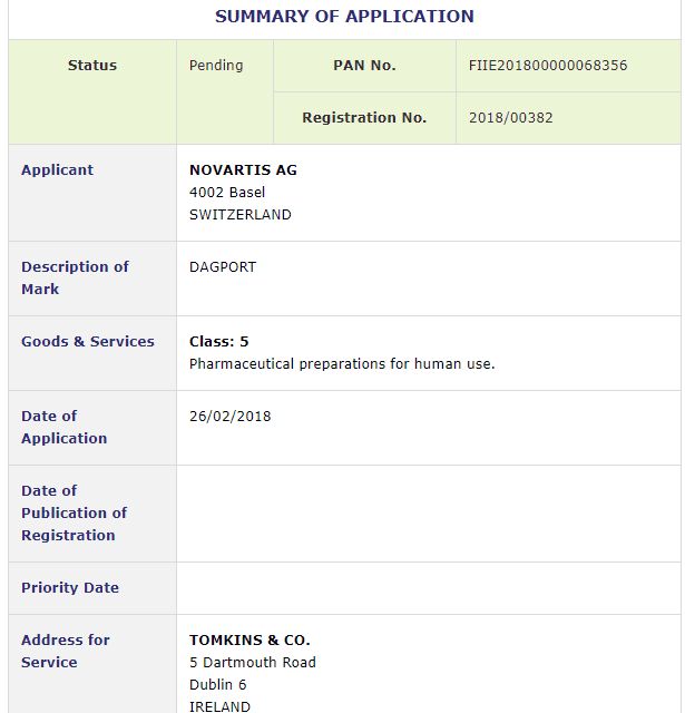 Trademark Ireland Swiss Pharmacy Company Novartis AG applies for Irish Trademarks for Dagport Dailiport and Conferoport Tm Trademarks Drugs