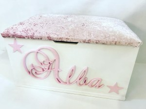 Pink and white glitter crushed velvet toy box
