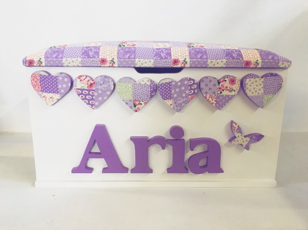 purple patchwork personalised toy box