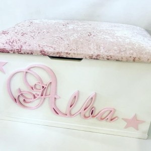 pink velvet glitter personalised toy box